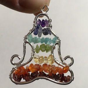 Jewelry - Buddha 7 Stone Chakra Pendant - real stones